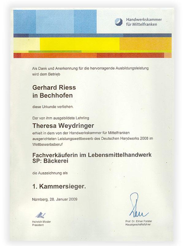 Karriere | Bäckerei, Café Rieß | Ihre Bäckerei in Bechhofen, Ausbildung