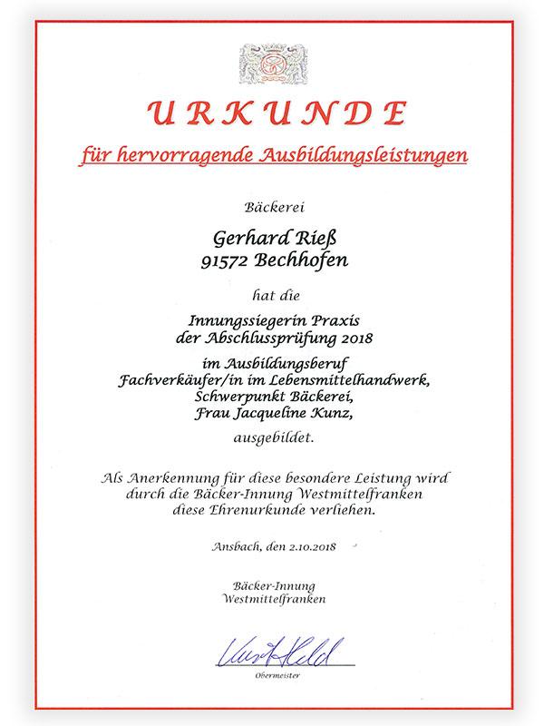 Karriere | Bäckerei, Café Rieß | Ihre Bäckerei in Bechhofen, Innungssieger