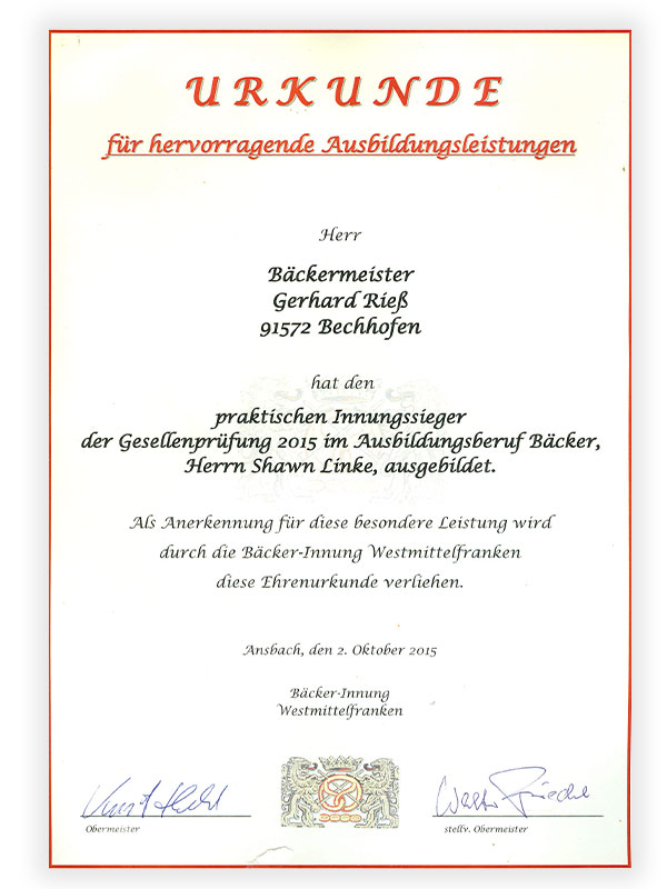 Karriere | Bäckerei, Café Rieß | Ihre Bäckerei in Bechhofen, Innungssieger Urkunde